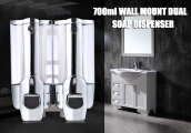 700ML Soap Dispenser Lotion Pump Wall Mount Dual Shampoo Box