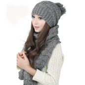 Fashion Warm Scarf For Women Thicken Warm Knitted Scarf + Warm Hat Set