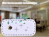Top - 300 Mini Rechargeable Dehumidifier Cordless Absorbing Moisture WHITE US PLUG