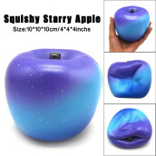 BESSKY Starry 10cm Apple Cream Scented Squishy Slow Rising Squeeze Strap Kids Toy Gifts -Blue