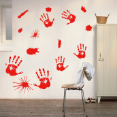 Halloween Stickers Horror Blood Hands Window Stickers Decorative Stickers Red