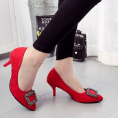 Sexy Red Solid Flock Pumps
