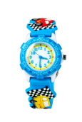 Keymao Small Car Waterproof 3D Cute Cartoon  Silicone Wristwatches Gift for Little Girls Boy Kids Children