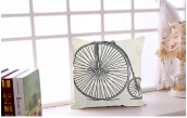 Bicycle Pattern Cotton Linen Pillow Cushion Cover Home Decor