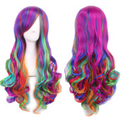 Fashion Women's Long Wavy Curly Mixed 7 Colors Hair Wig Cosplay Party
