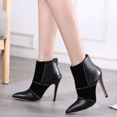 Lovely Black Patchwork PU Boots