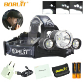 BORUIT RJ-3000 Plus 3x XM-L T6 LED Micro USB Rechargeable Headlamp 2x18650 PCB Batteries+Wall charger Head+USB +Cloth bag