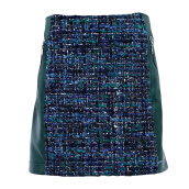 LOUIS VUITTON Tweed and Leather Skirt [LVU01598C] S