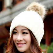 [Kingstore]Super warm Imitation Rabbit Fur Rolling Side Candy Color Wool Hat Knitted Cap