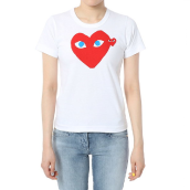 COMME DES GARCONS Red Heart w/ Blue Eyes Woman - White [M] AZ-T085/051/1