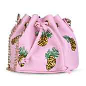 Guapabien Pineapple Embroidered Drawstring Mini Bucket Bag