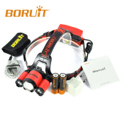 BORUIT B22 XM-L2+2X XPE LED Hunting Headlamp Micro USB Headlight Torch 2x18650 PCB Batteries+Wall charger RedHead+USB+Cloth bag