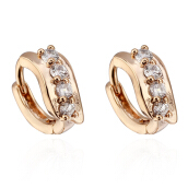Women Lady Girls Charm Gold-plated Filled Crystal Hoop Earrings Ear Clips