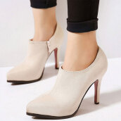 Stylish Beige Solid Flock Boots