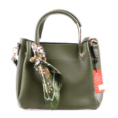 HUER Laras  Tote Bag With Scarf - Green [One Size]