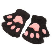 Lovely Women Cat Claw Paw Mitten Plush Glove Costume Gift Winter Half Finger