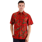 DANAR HADI Mens Short Sleeve Batik LLCG2 - Red