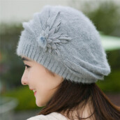 BESSKY Fashion Womens Flower Knit Crochet Beanie Hat Winter Warm Cap Beret-