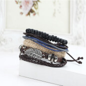 BESSKY New Men's Braided Leather Stainless Steel Cuff Bangle Bracelet Wristband Fashion-brown