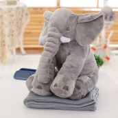 Stuffed Simulation Giant Elephant Plush Doll Toy Pillow with Blanket(Light Gray)