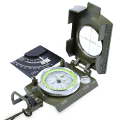 Prismatic Water Resistant Luminous Compass with Pouch Military Army Travel Geology Equipment