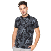 FAMO Camo Casual Polo Shirt - Black