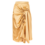 MAZUKI Pleated Front Evening Skirt - Gold [M] - Clay Skirt [WS21]