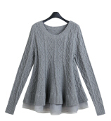 Women's Stylish Light Grey O-Neck Solid Worsted Sweater