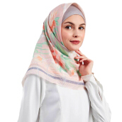 BUTTONSCARVES Hermione Square-Viole Cotton in Peach [One Size]