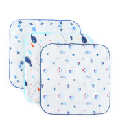 PurCotton Gift Box Gauze Handkerchief 25x25cm 3piece/box Boat+Shark+Blue Star
