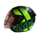 KYT DJ Maru #14 Helm Half Face - Black Yellow Fluo Green Fluo