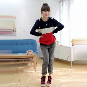 Women's Stylish O-Neck Print Worsted Sweater
