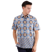 DANAR HADI Mens Short Sleeve Batik SNRG4 - Blue/Brown