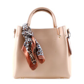 HUER Laras  Tote Bag With Scarf - Beige [One Size]