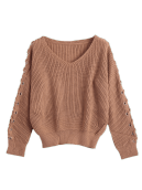 Lace Up Sleeve V Neck Sweater ONE SIZE