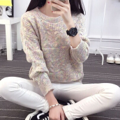 Women's Trendy Beige O-Neck Print Worsted Sweater