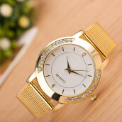 BESSKY Fashion Women Crystal Golden Stainless Steel Analog Quartz Wrist Watch- Golden