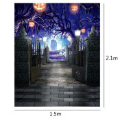 Durable Halloween Thin Vinyl Pumpkin Lamp Photography Backdrop Photo Lighting Studio Background 1.5x2.1m/5x7ft