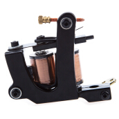 Black Carbon Steel Tattoo Machine Gun 8 Wraps Coils Liner Shader