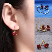 Fashionable Jewelry Red Crystal Gold Color Earrings for Women