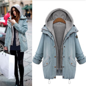 BESSKY Winter Women Warm Collar Hooded Coat Jacket Denim Trench Parka Outwear-