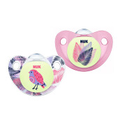 NUK Glow In The Dark Trendline Night & Day Silicone Soother Size 2 (Isi 2 pcs) - Pink Bird & Leaves