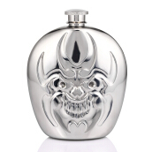 6oz Stainless Steel Hip Flask Ghost Face Mirror Polished Barware