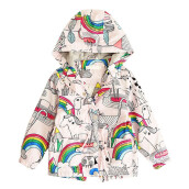 BESSKY Baby Girl Long Sleeve Warm Hoodie Coat Children Rainbow Jacket Windbreakers_