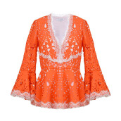 ALEXIS Alexina Macrame Lace Top Tangerine - Orange S [ALE21010903238]
