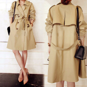 Women fashion lapel collect waist lace-up double-breasted pure color long trench coat KHAKI