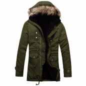 Men Coat   Hot Sale Men's Solid Causal Long Warm Coat Male Fashion Padded Hooded Winter Wear Thick Coat