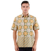 DANAR HADI Mens Short Sleeve Batik SNRG2 - Green/Yellow