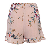 High Waist Floral Print Belt Ruffled Pocket Women Shorts