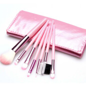 [Kingstore]7 pcs Makeup Brushes Set Foundation Eyeshadow Eyeliner Blusher Leather Case
